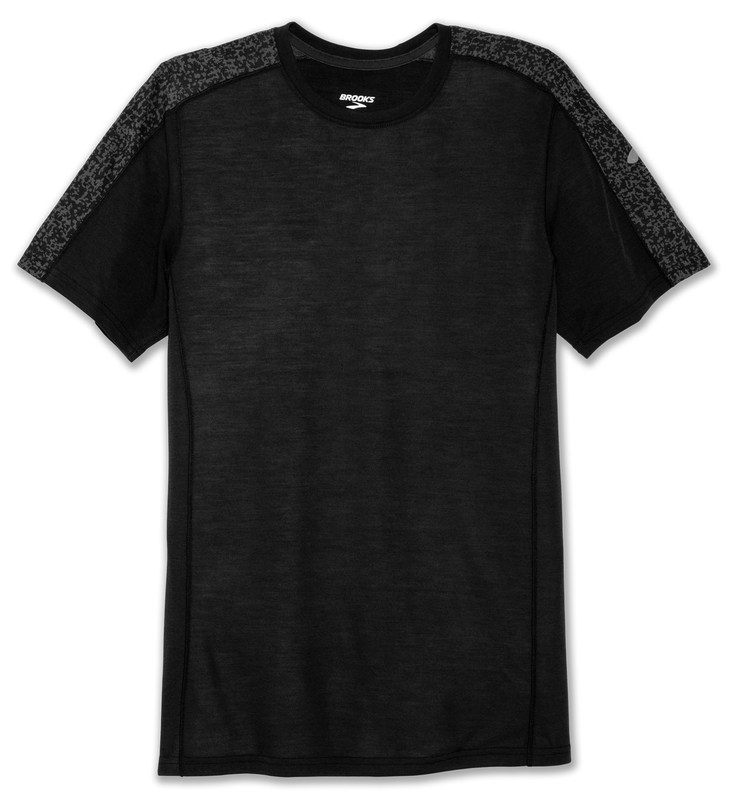BrooksMen's Distance short sleeve [Black/Black Static]
