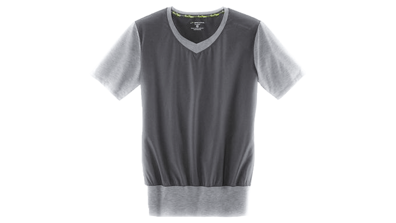 Brooks Womens Fly-by short sleeve vneck [heather Oxford grey]