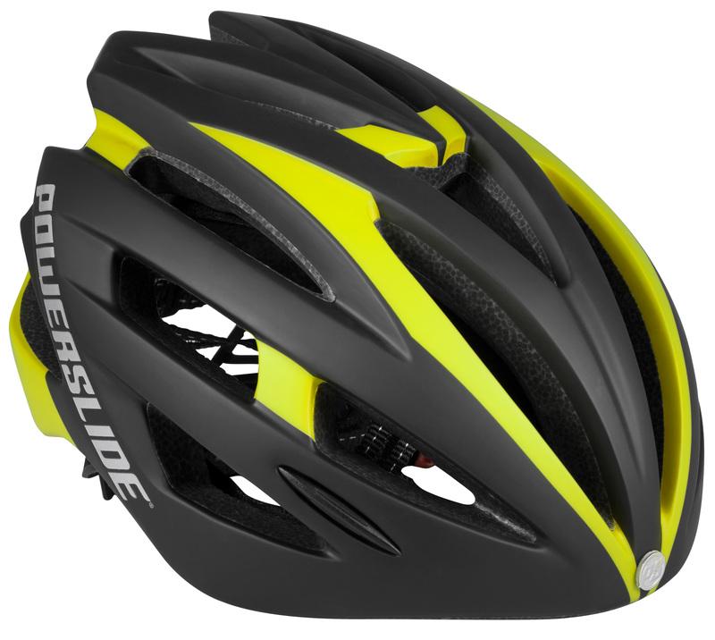Powerslide Race Attack helmet black/yellow met LED licht