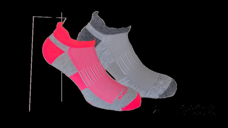 Brooks Unisex Ghost Midweight 2-pack socks [Oxford/asphalt Oxford/brite pink]