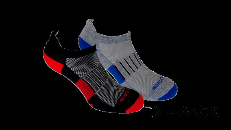 Brooks Unisex Ghost Midweight 2-pack socks [black/red-Heather grey/marathon]