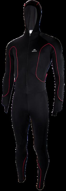 Hunter Speedpak lycra Pro met cap Zwart/Piping Rood