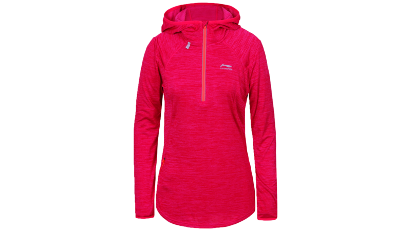 Li-Ning Women's winter running shirt long sleeve 1/2 zip - HEGE [coral pink]