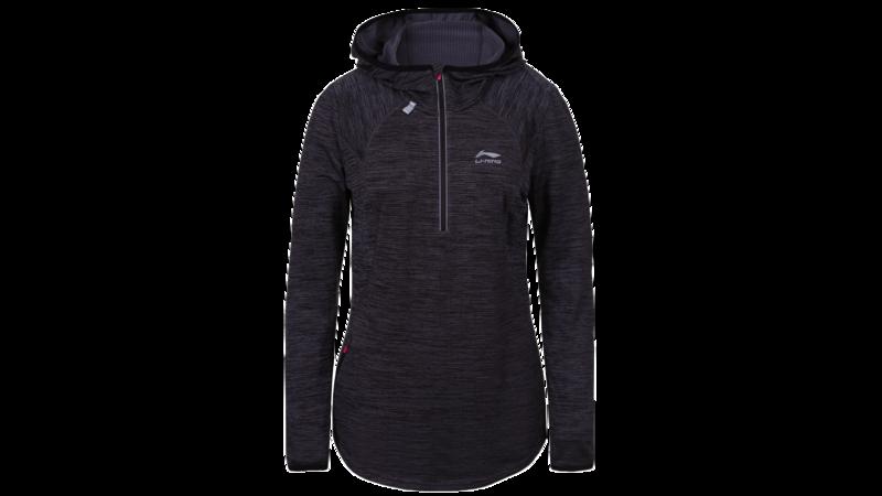 Li-Ning Women's winter running shirt long sleeve 1/2 zip - HEGE [black]