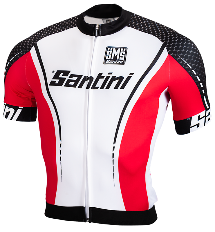 Santini Fietsshirt Wit Zwart Rood