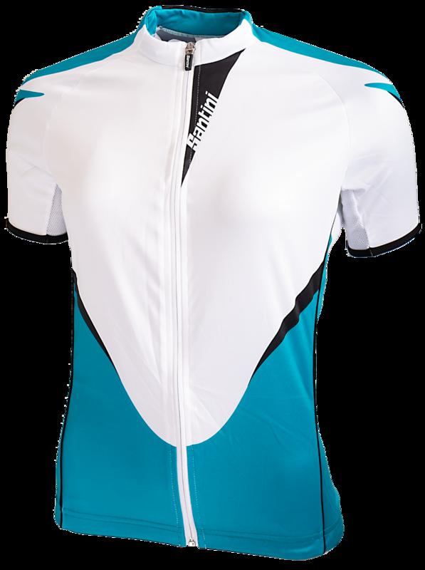 Fietsshirt Dames Korte Mouw Wit Turquoise
