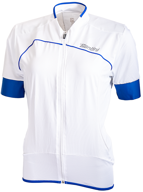Santini Cycleshirt Short Sleeve Fashion Anatomic Cut White/Blue