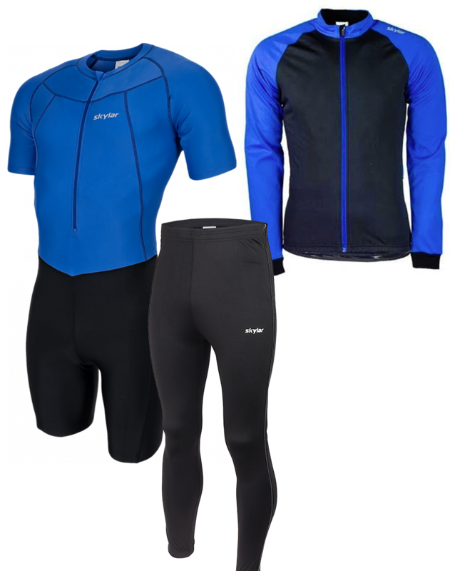Skylar skeelerset pak/jack/broek zwart+blauw