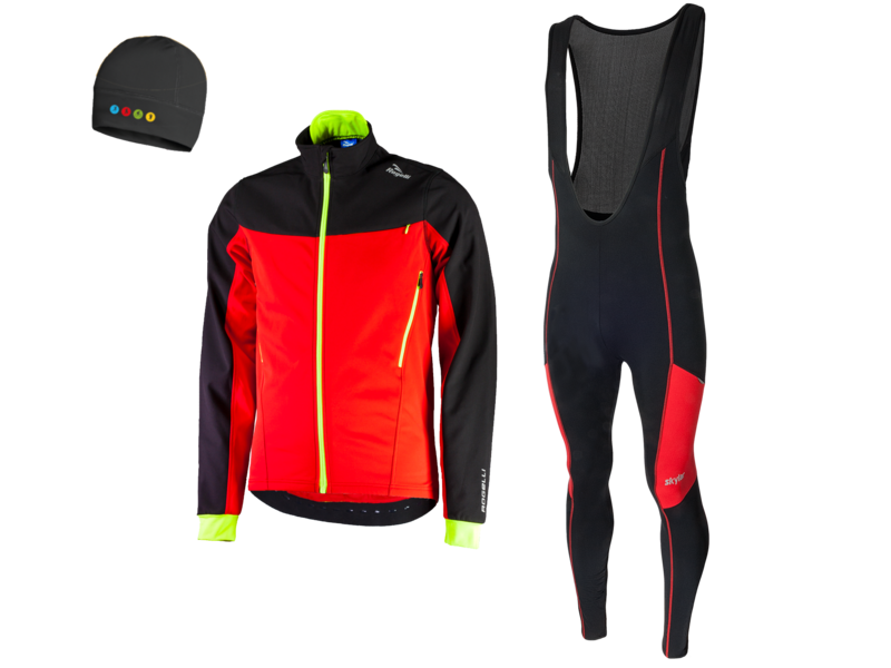 RogelliTrabia winterjacket + Manzano Salopet SET Black/Red (with free cap)