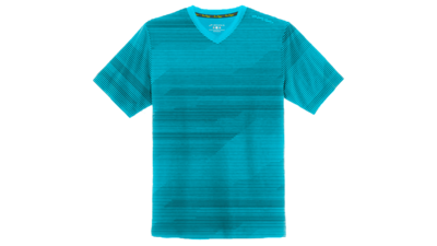 Men's Fly-by short sleeve vneck [heather hydrate lightspeed]