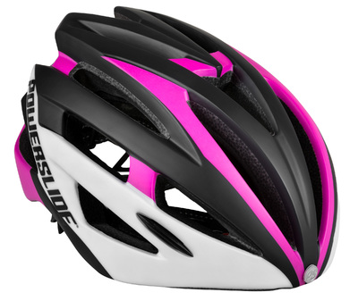 Powerslide Race Attack helmet pink/white met LED licht