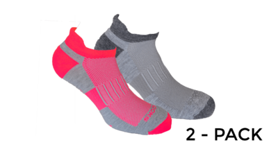 Brooks Unisex Ghost Midweight 2-pack socks [Oxford/asphalt Oxford/brite pink]