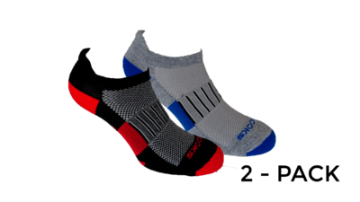 Brooks Unisex Ghost Midweight 2-pack socks [black/red-Heather grey/marathon]