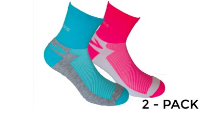 Brooks Unisex Glycerin Midweight 2-pack socks [brite pink/white turquoise/Oxford]