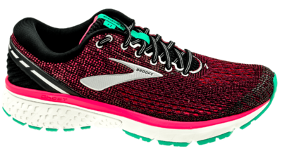 Brooks Ghost 11 black/pink/aqua wide