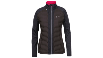 Women's running jacket - HELENA [black/darkbrown chest]