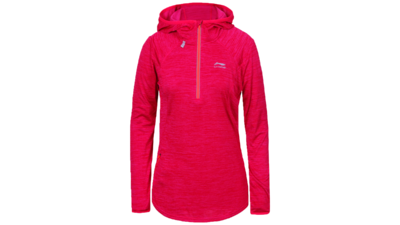 Women's winter running shirt long sleeve 1/2 zip - HEGE [coral pink]