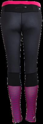 Rucanor Runningtight zwart, overlopend in fluor roze patroon op onderbeen