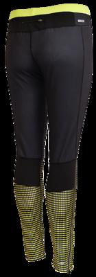 Rucanor Runningtight zwart, overlopend in fluor geel patroon op onderbeen