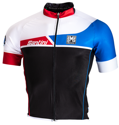 Santini Cyclejersey Union White-Black-Red-Blue