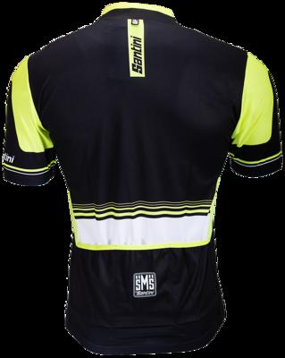 Santini wielershirt lycra,  zwart- fluor geel
