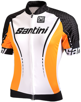 Santini Cycleshirt Short Sleeve White Orange