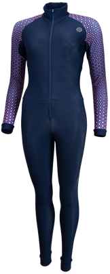 AGU Thermo marathon suit ladies navy arm print pink
