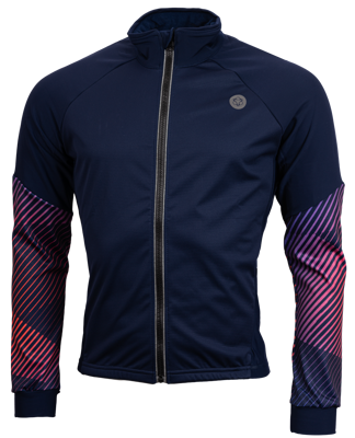 AGU Thermo schaatsjack navy/rood met windstopper