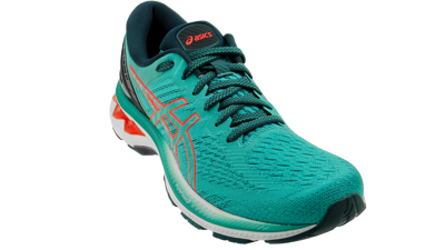 Asics Kayano 27 Techno Cyan/Sunrise Red
