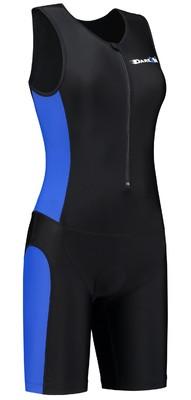 Dames Triathlonpak zwart/blauw
