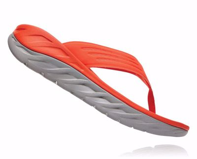 Hoka One One Men's Ora recovery flip - herstel slippers - Mandarin Red / Wild Dove