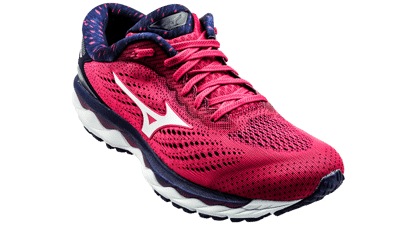 Mizuno Wave Sky 3 Bright rose/White/Aurorapin