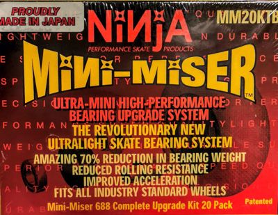 Ninja Skates Mini-Miser Minibearing set with adapters for 608 core. Set of 20 pieces