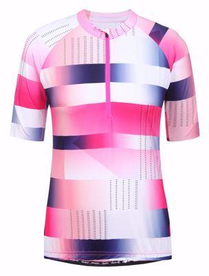 Rukka Rovik wielershirt women streep/blok pink white