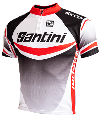 Santini Cycleshirt maglia lampo black/white/red