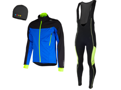 Rogelli Trabia winterjacket + Manzano Salopet SET Black/Yellow (with free cap)