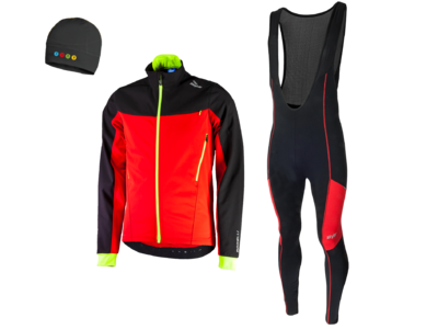 Rogelli Trabia winterjacket + Manzano Salopet SET Black/Red (with free cap)