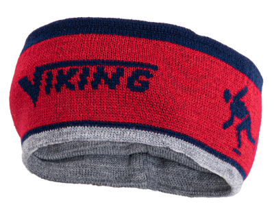 Viking hoofdband-muts rood/grijs