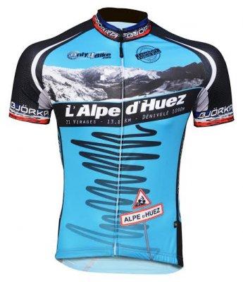 Wielershirt korte mouw  L'Alpe d'huez blauw
