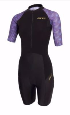 Zone3 Women's Lava short sleeve trisuit black/purple/gold