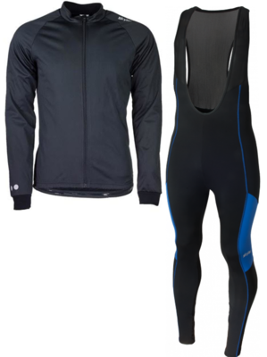Skylar Softshell winterjacket + Manzano Salopet SET Black/Blue