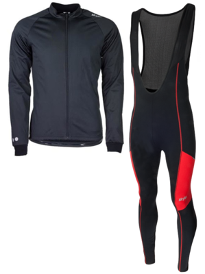 Skylar Softshell winterjacket + Manzano Salopet SET Black/Red