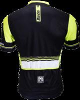 Santiniwielershirt lycra,  zwart- fluor geel